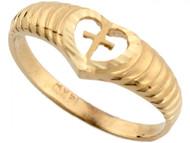 Anillo Religioso De Amor Y Fe Con Corazon Y Cruz En Oro Real De (OM#3594)