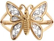 Anillo En Forma De Mariposa Estilo Filigrana En Oro Real De Dos Tonos De (OM#3599)
