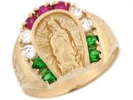 Anillo Para Hombre De Herradura Con Virgen Maria Con Circonita En Oro De (OM#3637)