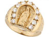 Anillo Para Hombre De Herradura Con Virgen Maria Y Circonita En Oro De (OM#3637)