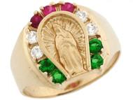 Anillo De Hombre De Herradura Con Virgen Maria Y Circonita Mexico En Oro De (OM#3638)