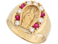 Anillo Magnifico De Hombre De Herradura Virgen Maria Y Circonita En Oro De (OM#3638)
