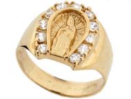 Anillo Bello De Hombre De Herradura Con Virgen Maria Y Circonita En Oro De (OM#3638)