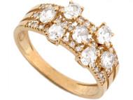 Anillo Para Dama Con Circonita Maravillosa Oval Y Redonda En Oro Amarillo De (OM#3641)
