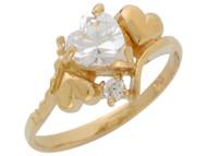Anillo De Abril Diseno De Corazones Con Circonita Brillante En Oro De (OM#3696)