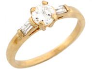 Anillo De Compromiso Con Circonita Blanca En Oro Amarillo Real De (OM#3736)