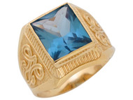 Anillo Ancho De Hombre Del Mes Diciembre Con Circon Azul Simulada En Oro De (OM#4801)