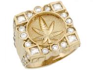 Anillo De Hombre De Marijuana Cannabis Y Circonita En Racimo En Oro Amarillo (OM#5187)