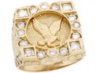 Anillo De Hombre De Aguila Libertad Americana Circonita En Racimo En Oro De (OM#5188)
