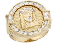Anillo Redondo De Hombre De Jesus Corona Espinas Circonita En Oro De 2 Tonos (OM#5195)