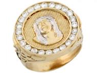 Anillo Catolico Redondo De Hombre De Jesus Con Circonita En Oro De 2 Tonos (OM#5196)