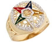 Anillo De Estella Del Este De Dama Con Esmalte Y Diamantes En Oro De 2 Tonos (OM#5200)