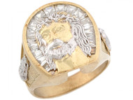 Anillo Religioso De Hombre Con Circonita De Rostro De Jesus En Oro 2 Tonos (OM#5293)