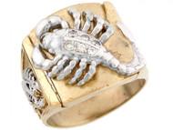 Anillo Para Hombre Con Circonita Y Escorpion En Oro De Dos Tonos De (OM#5294)