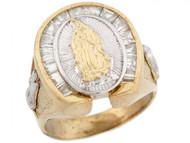 Anillo De Hombre Con Circonita Y Virgen De Guadalupe En Oro De Dos Tonos (OM#5296)