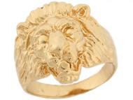 Anillo De Lujo Para Hombre Con Estilo De Cabeza De Leon En Oro Amarillo De (OM#5302)