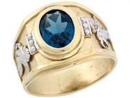 Anillo De Hombre Con Pegaso Y Circon Azul Simulado En Oro De 2 Tonos (OM#5311)