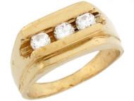 Anillo Rectangular Para Bebe A La Moda Con Tres Circonitas Blancas En Oro De (OM#5325)