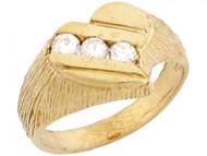 Anillo De Moda Para Bebe Estilo Corazon Con Tres Circonitas Blancas En Oro (OM#5329)