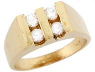 Anillo Cuadrado Moderno Para Bebe Con Cuatro Circonitas Blancas En Oro De (OM#5331)