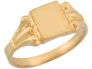 Anillo Cuadrado Decorativo Estilo Antiguo De Sello Para Bebe En Oro Amarillo (OM#5368)