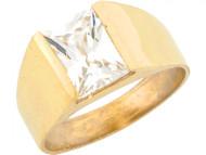Anillo Maravilloso De Nino Con Circonita De 2.5ct En Talla Esmeralda En Oro (OM#5415)