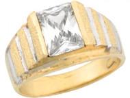 Anillo De Nino Con Circonita Blanca De 2.5ct En Oro De Real De Dos Tonos (OM#5423)