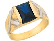 Anillo Atractivo De Nino Con Zafiro Azul Simulado En Oro De Dos Tonos De (OM#5426)
