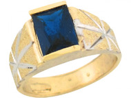 Anillo De Nino Banda Con Diseno Y Zafiro Azul Simulado En Oro De 2 Tonos (OM#5428)
