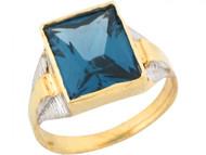 Anillo De Nino Con Circon Azul Simulado En Talla Esmeralda En Oro Dos Tonos (OM#5429)
