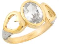 Anillo De Bebe Piedra Natal De Abril Circonita Blanca Ovalada En Oro 2 Tonos (OM#5450)
