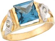 Anillo De Bebe Piedra Natal Diciembre Circon Azul Simulado En Oro 2 Tonos (OM#5461)