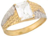 Anillo De Bebe Con Piedra Natal De Abril Circonita Blanca En Oro 2 Tonos (OM#5465)