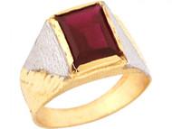 Anillo De Nino Con Piedra Natal De Enero Granate Simulado En Oro De 2 Tonos (OM#5467)