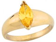 Anillo Solitario Para Bebe Noviembre Circonita Amarilla Marquise En Oro De (OM#5485)
