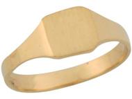 Anillo Cuadrado De Sello Para Bebe Engravable De Disenador En Oro Amarillo (OM#5520)