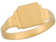 Anillo Cuadrado De Sello Para Bebe Engravable De Disenador En Oro Amarillo (OM#5521)