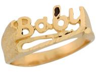 Anillo Especial Para Ninos Estilo Filigrana Con Palabra Baby En Oro Amarillo (OM#5537)