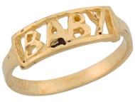 Anillo Moderno Para Bebe De Celebracion Con Palabra Baby En Oro Amarillo (OM#5543)