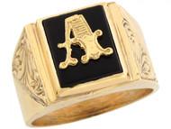 Anillo De Hombre De Lujo Con Letra Inicial A Y Onix Tamano 12x10mm En Oro (OM#5665)