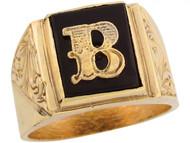 Anillo De Hombre De Lujo Con Letra Inicial B Y Onix Tamano 12x10mm En Oro (OM#5666)