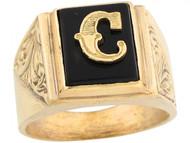 Anillo De Hombre De Lujo Con Letra Inicial C Y Onix Tamano 12x10mm En Oro (OM#5667)