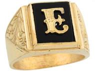 Anillo De Hombre De Lujo Con Letra Inicial E Y Onix Tamano 12x10mm En Oro (OM#5669)