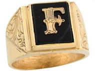 Anillo De Hombre De Lujo Con Letra Inicial F Y Onix Tamano 12x10mm En Oro (OM#5670)