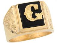Anillo De Hombre De Lujo Con Letra Inicial G Y Onix Tamano 12x10mm En Oro (OM#5671)