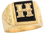 Anillo De Hombre De Lujo Con Letra Inicial H Y Onix Tamano 12x10mm En Oro (OM#5672)