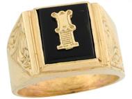 Anillo De Hombre De Lujo Con Letra Inicial I Y Onix Tamano 12x10mm En Oro (OM#5673)