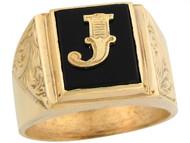 Anillo De Hombre De Lujo Con Letra Inicial J Y Onix Tamano 12x10mm En Oro (OM#5674)
