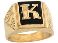 Anillo De Hombre De Lujo Con Letra Inicial K Y Onix Tamano 12x10mm En Oro (OM#5675)