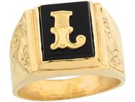 Anillo De Hombre De Lujo Con Letra Inicial L Y Onix Tamano 12x10mm En Oro (OM#5676)